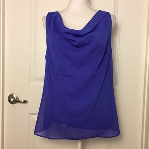Ann Taylor Chiffon Layered Cowl Neck Top Sz L